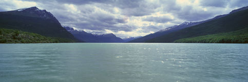 Panoramic view of Ushuaia, Tierra del Fuego National Park and Andes Mountains, Argentina Royalty Free Stock Photography