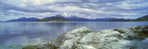 Panoramic view of Ushuaia, Tierra del Fuego National Park and Andes Mountains, Argentina Royalty Free Stock Images