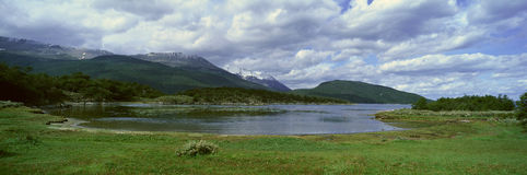 Panoramic view of Ushuaia, Tierra del Fuego National Park and Andes Mountains, Argentina Royalty Free Stock Image