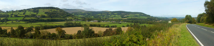 Panoramic view the Usk valley in Wales UK. Stock Photography
