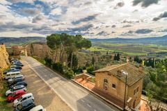 Panoramic view of Val dOrcia from Pienza, Italy Royalty Free Stock Image