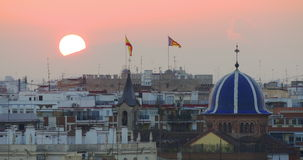 Panoramic view on valencia old town roofs flags 4k spain. Spain panoramic view on valencia old town roofs flags 4k stock footage