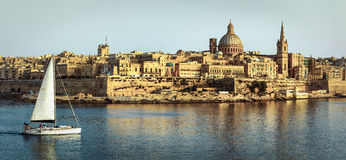 Panoramic view of Valetta over sunset royalty free stock photo