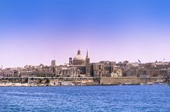 View at Valletta city from Sliema bay, Malta. Panoramic view at Valletta city from Sliema bay. European island state of Malta stock image