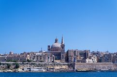 Panoramic view at Valletta city from Sliema bay, Malta. Panoramic view at Valletta city from Sliema bay. European island state of Malta stock image