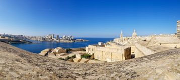 Panoramic view of Valletta Grand harbour from wide fortification wall stock image