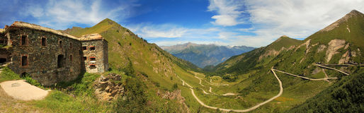 Panoramic view on valley in Alps. Royalty Free Stock Photos