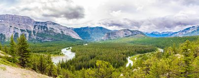 Panoramic view at the Valley of Bow river from Hoodoos view point in Banff National Park - Canadian Rocky Mountains. Panoramic view at the Valley of Bow river stock images