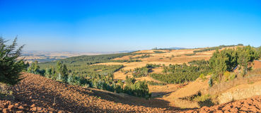 Panoramic view of a valley countryside of Addis Ababa Royalty Free Stock Photo