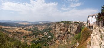 Panoramic view of the valley near the Ronda town. stock photos