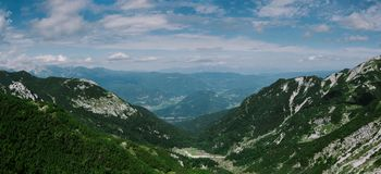 Panoramic view of the valley Planina Suha. stock photography