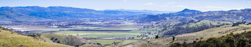 Panoramic view of the valley south of San Jose from Santa Teresa park, San Francisco bay area, California royalty free stock photo