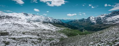 Panoramic view of valley Valle d`Aosta. stock photography