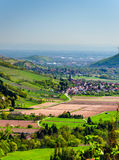 Panoramic view on the valley and villages in Vosges, Alsace Royalty Free Stock Photos