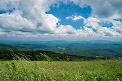 Panoramic View of the Valley from Whitetop Mountain, Grayson County, Virginia, USA. View of the valley from a Mountain Meadow with Mountains in the background Royalty Free Stock Images
