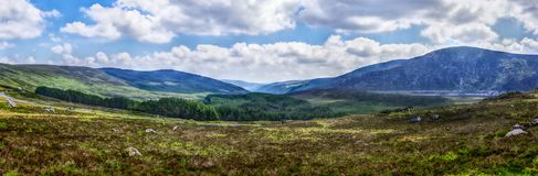 Panoramic view of a valley in the Wicklow Mountains National Par stock images