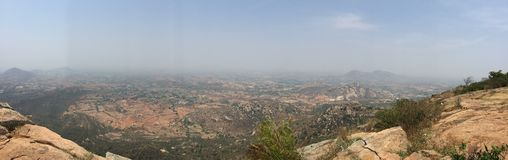 Panoramic view of the valleys from Horsley Hills. Panoramic and scenic views from the top of Horsley Hills, Andhra Pradesh Royalty Free Stock Photos