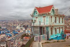 Panoramic view of Valparaiso, Chile, overlooking the harbor and Royalty Free Stock Images