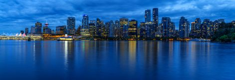 Panoramic view of Vancouver city by night stock photos