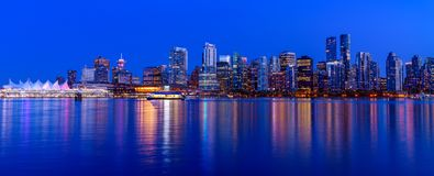 Panoramic view of Vancouver city by night royalty free stock photo
