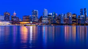 Panoramic view of Vancouver city by night stock photo