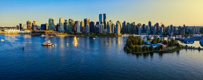 Panoramic view of Vancouver city at sunset royalty free stock image