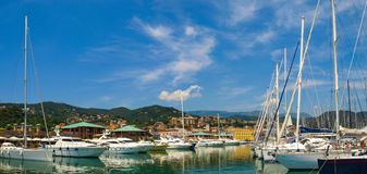 Panoramic view of Varazze Marina in Liguria, Italy. With yachts and blue sky background Royalty Free Stock Photo