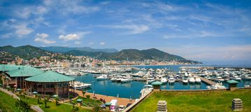 Panoramic view of Varazze Marina in Liguria, Italy. With yachts and blue sky background Stock Image