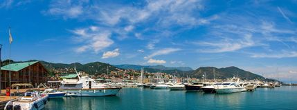 Panoramic view of Varazze Marina in Liguria, Italy. With yachts and blue sky background Stock Photo