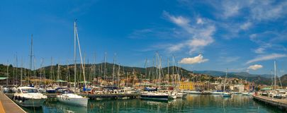Panoramic view of Varazze Marina in Liguria, Italy. With yachts and blue sky background Royalty Free Stock Image