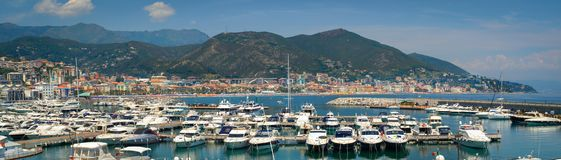 Panoramic view of Varazze Marina in Liguria, Italy. With yachts and blue sky background Stock Images