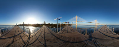 Panoramic view of Vasco da Gama bridge in Lisbon Royalty Free Stock Photos
