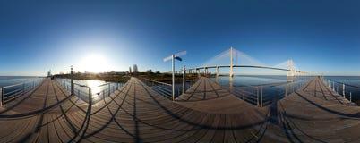 Panoramic view of Vasco da Gama bridge in Lisbon Royalty Free Stock Photos