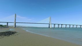 Panoramic View Vasco da Gama Bridge. In Lisbon, Portugal stock footage