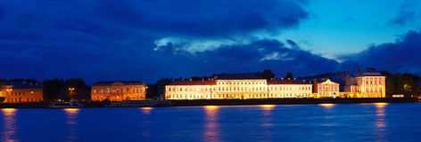 Panoramic view of Vasilyevsky Island in night Stock Photos