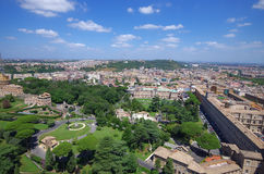 Panoramic view at the Vatican Gardens in Rome. Royalty Free Stock Images