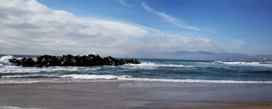 Panoramic view of Venice beach, California. Royalty Free Stock Photography