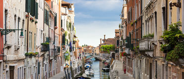 Panoramic view of Venice canal Royalty Free Stock Image