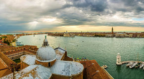 Panoramic view  on  Venice and the Grand Canal Stock Photo