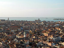 Panoramic view of Venice from San Marco bell tower, Italy. With beautiful sunset colors Stock Photo
