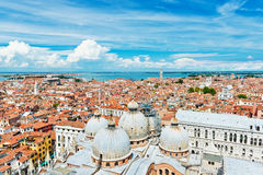 Panoramic view of Venice from San Marco bell tower, Italy Royalty Free Stock Photo