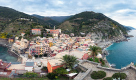 Panoramic view on Vernazza town at Cinque Terre national park in Liguria, Italy Stock Photos