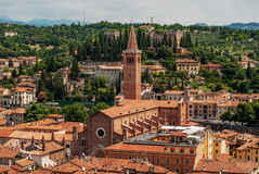 Panoramic view on Verona and the Church of Saint Anastasia in Ve Stock Images
