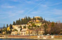 Panoramic photo of Verona, cityscape embankment view stock photo