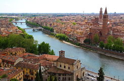 Panoramic view of Verona, Italy. (are visible the Santa Anastasia Church and the Lamberti Tower Royalty Free Stock Photos