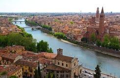 Panoramic view of Verona, Italy. (are visible the Santa Anastasia Church and the Lamberti Tower royalty free stock photos