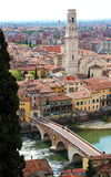 Panoramic view of Verona, Italy. (are visible the Old Bridge and the Duomo Stock Image