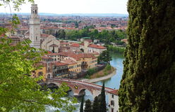 Panoramic view of Verona, Italy. (are visible the Old Bridge and the Duomo Royalty Free Stock Images