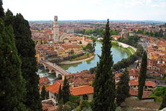 Panoramic view of Verona, Italy. (are visible the Old Bridge and the Duomo Royalty Free Stock Photo