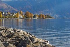 Panoramic view of Vevey, canton of Vaud, Switzerland Stock Photo